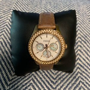 Fossil Rose Gold Watch with Cubic Zirconium Halo